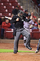 Umpire Mac Dietz during second game of a doubleheader between the Kane County Cougars and Cedar Rapids Kernels on May 10, 2016 at Perfect Game Field in Cedar Rapids, Iowa.  Cedar Rapids defeated Kane County 3-2.  (Mike Janes/Four Seam Images)