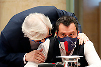 Vittorio Sgarbi and Matteo Salvini, secretary of Lega party during the presentation of the candidates at the next elections for the mayor of Rome for the center-right coalition.<br /> Rome (Italy), June 11th 2021<br /> Photo Samantha Zucchi Insidefoto