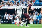 Real Madrid Vinicius Jr. and A.C. Milan Stefan Simic during Santiago Bernabeu Trophy match at Santiago Bernabeu Stadium in Madrid, Spain. August 11, 2018. (ALTERPHOTOS/Borja B.Hojas)