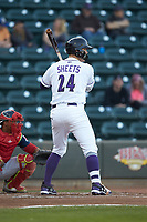Gavin Sheets (24) of the Winston-Salem Dash at bat against the Salem Red Sox at BB&T Ballpark on April 21, 2018 in Winston-Salem, North Carolina.  The Dash walked-off the Red Sox 4-3.  (Brian Westerholt/Four Seam Images)