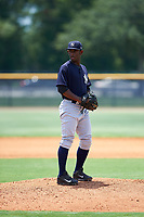 GCL Yankees East relief pitcher Anderson Severino (7) gets ready to deliver a pitch during the second game of a doubleheader against the GCL Yankees West on July 19, 2017 at the Yankees Minor League Complex in Tampa, Florida.  GCL Yankees West defeated the GCL Yankees East 3-1.  (Mike Janes/Four Seam Images)