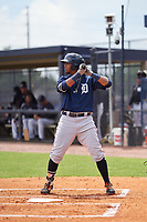 FCL Tigers East Adonis Figuereo (34) bats during a game against the FCL Yankees on July 27, 2021 at the Yankees Minor League Complex in Tampa, Florida. (Mike Janes/Four Seam Images)
