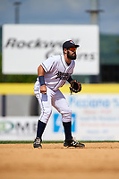 Binghamton Rumble Ponies shortstop Luis Guillorme (3) during a game against the Hartford Yard Goats on July 9, 2017 at NYSEG Stadium in Binghamton, New York.  Hartford defeated Binghamton 7-3.  (Mike Janes/Four Seam Images)