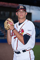Danville Braves pitcher Jeremy Walker (37) poses for a photo prior to the game against the Pulaski Yankees at American Legion Post 325 Field on August 2, 2016 in Danville, Virginia.  The game was cancelled due to rain.  (Brian Westerholt/Four Seam Images)