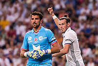 Real Madrid's player Gareth Bale and Stade de Reims's player Carrasso during the XXXVII Santiago Bernabeu Trophy in Madrid. August 16, Spain. 2016. (ALTERPHOTOS/BorjaB.Hojas) /NORTEPHOTO