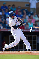 Desmond Jennings (13) of the Durham Bulls breaks his bat during the game against the Louisville Bats at Durham Bulls Athletic Park on August 9, 2015 in Durham, North Carolina.  The Bulls defeated the Bats 9-0.  (Brian Westerholt/Four Seam Images)