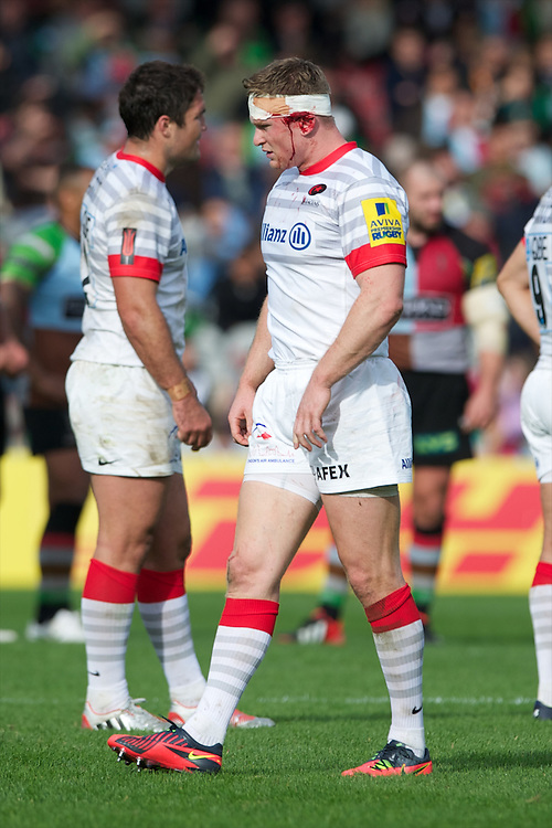 Chris Ashton of Saracens has a blood injury during the Aviva Premiership match between Harlequins and Saracens at the Twickenham Stoop on Sunday 30th September 2012 (Photo by Rob Munro)