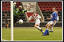17/8/02               Copyright Pic : James Stewart                     .File Name : stewart-airdrie v stranraer 08.PAUL RONALD GUIDES HIS HEADER PAST CHRIS HILLCOAT TO SCORE THE WINNING GOAL FOR AIRDRIE...James Stewart Photo Agency, 19 Carronlea Drive, Falkirk. FK2 8DN      Vat Reg No. 607 6932 25.Office : +44 (0)1324 570906     .Mobile : + 44 (0)7721 416997.Fax     :  +44 (0)1324 570906.E-mail : jim@jspa.co.uk.If you require further information then contact Jim Stewart on any of the numbers above.........