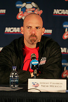 New Mexico head coach Jeremy Fishbein answers questions during the postgame press conference. The University of Maryland Terrapins defeated the University of New Mexico Lobos 1-0 in the Men's College Cup Championship game at SAS Stadium in Cary, NC, Friday, December 11, 2005.