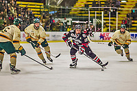 17 December 2013:  Northeastern University Huskies Forward Kevin Roy, a Sophomore from Lac-Beauport, Quebec, in first period action against the University of Vermont Catamounts at Gutterson Fieldhouse in Burlington, Vermont. The Huskies shut out the Catamounts 3-0 to end UVM's 5 game winning streak. Mandatory Credit: Ed Wolfstein Photo *** RAW (NEF) Image File Available ***
