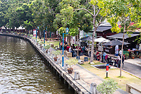 Riverwalk and Casual Outdoor Restaurant along the Melaka River,  Melaka, Malaysia.