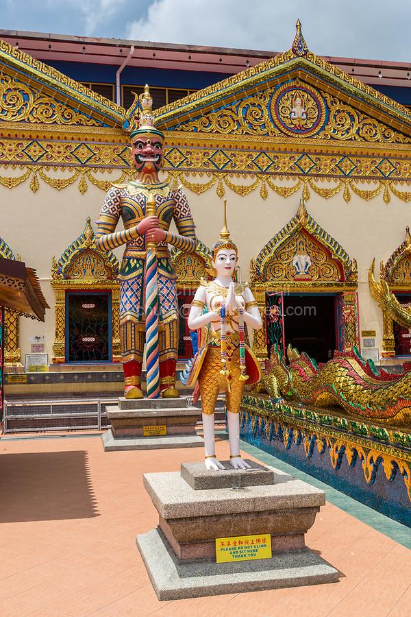 A Nat and a Yaksha Guard Entrance to Wat Chayamangkalaram,  Temple of the Reclining Buddha.  George Town, Penang, Malaysia