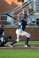 Travis Maezes (8) of the Wilmington Blue Rocks follows through on his swing against the Buies Creek Astros at Jim Perry Stadium on April 29, 2017 in Buies Creek, North Carolina.  The Astros defeated the Blue Rocks 3-0.  (Brian Westerholt/Four Seam Images)