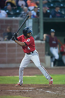 Billings Mustangs right fielder Satchel McElroy (14) at bat during a Pioneer League game against the Idaho Falls Chukars at Melaleuca Field on August 22, 2018 in Idaho Falls, Idaho. The Idaho Falls Chukars defeated the Billings Mustangs by a score of 5-3. (Zachary Lucy/Four Seam Images)