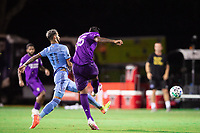 LAKE BUENA VISTA, FL - JULY 14: Valentin Castellanos #11 of NYCFC and Antonio Carlos #25 of Orlando City SC battle for the ball during a game between Orlando City SC and New York City FC at Wide World of Sports on July 14, 2020 in Lake Buena Vista, Florida.