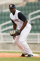 Kannapolis first baseman Chris Carter on defense versus Charleston at Fieldcrest Cannon Stadium in Kannapolis, NC, Wednesday, April 18, 2007.  The River Dogs defeated the Intimidators by the score of 1-0.