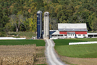 Rustic red barn and corn field, Centre Hall, Pennsylvania, USA