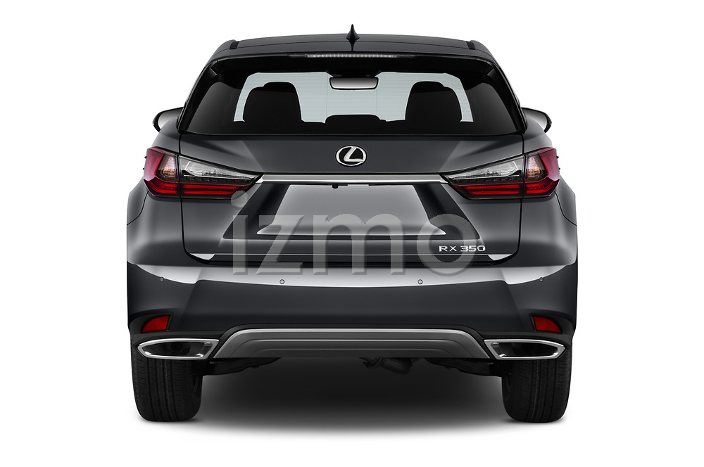 Straight rear view of a 2020 Lexus RX 350 5 Door SUV stock images