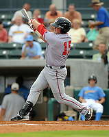 Outfielder Bill Rhinehart (15) of the Potomac Nationals in a game against the Myrtle Beach Pelicans on Aug. 7, 2010, at BB&T Coastal Field in Myrtle Beach, S.C. Photo by: Tom Priddy/Four Seam Images