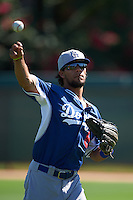 Los Angeles Dodgers Nick Sell (8) warms up before an instructional league game against the Milwaukee Brewers on October 13, 2015 at Cameblack Ranch in Glendale, Arizona.  (Mike Janes/Four Seam Images)