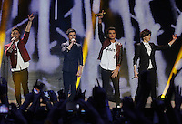 20/11/13<br /> Union J(L-R)Jaymi Hensley,JJ Hamblett,Josh Cuthbert and George Shelley pictured performing at the Cheerios Childline Concert at the O2 Dublin this eveningð. <br /> Pic Collins Photos