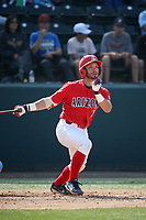 Cesar Salazar (12) of the Arizona Wildcats bats against the UCLA Bruins at Jackie Robinson Stadium on March 19, 2017 in Los Angeles, California. UCLA defeated Arizona, 8-7. (Larry Goren/Four Seam Images)