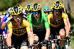 The peloton led by Tony Martin (GER) and Wout Van Aert (BEL) Team Jumbo-Visma during Stage 4 of Criterium du Dauphine 2020, running 157km from Ugine to Megeve, France. 15th August 2020.<br /> Picture: ASO/Alex Broadway | Cyclefile<br /> All photos usage must carry mandatory copyright credit (© Cyclefile | ASO/Alex Broadway)