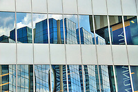 Abstract view of buildings reflecting in mirrored office windows, Toronto, Ontario, Canada