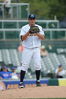Trenton Thunder pitcher Manny Banuelos (23) during game against the Binghamton Mets at ARM & HAMMER Park on July 27, 2014 in Trenton, NJ.  Trenton defeated Binghamton 7-3.  (Tomasso DeRosa/Four Seam Images)