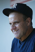 New York Yankees Manager Joe Torre during batting practice before a 2007 MLB season game  against the Los Angeles Angels at Angel Stadium in Anaheim, California. (Larry Goren/Four Seam Images)