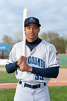 Lake County Captains outfielder Quentin Holmes (33) poses for a photo before a Midwest League game against the Beloit Snappers at Harry C. Pohlman Field on May 6, 2019 in Beloit, Wisconsin. (Zachary Lucy/Four Seam Images)