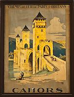 Europe/Europe/France/Midi-Pyrénées/46/Lot: Vieille affiche SNCF sur le Pont Valentré