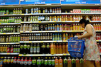 Hui Yuan Juice in Wumei supermarket in Beijing, China..22 Jul 2006