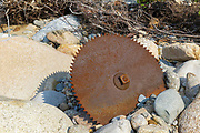 Remnants of the Lincoln mill and East Branch & Lincoln Railroad era along the East Branch of the Pemigewasset River in Lincoln, New Hampshire. This circular saw mill blade is a protected artifact from the logging railroad and mill era.