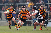 2015 ULSTER SCHOOLS CUP FINAL | Tuesday 17th March 2015<br /> <br /> Jack Conlin on the attack during the 2015 Ulster Schools Cup Final between RBAI and Wallace High School at the Kingspan Stadium, Ravenhill Park, Belfast, Count Down, Northern Ireland.<br /> <br /> Picture credit: John Dickson / DICKSONDIGITAL