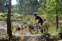 Oli Brown riding a  Marin DSX  Flat Bar Gravel Bike .  Chobham Common, Surrey . August 2020.