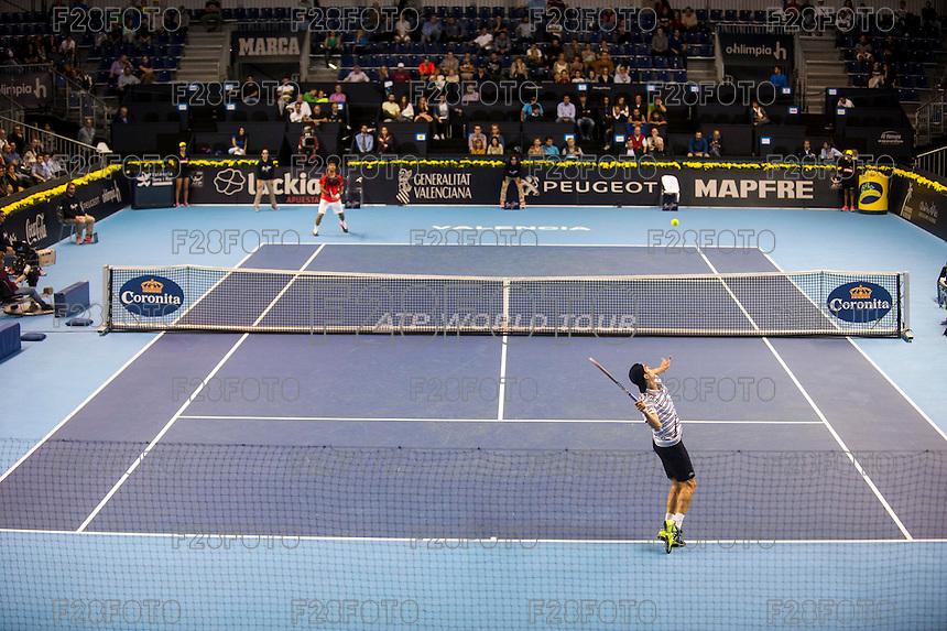 VALENCIA, SPAIN - OCTOBER 27: Fernando Verdasco and Guillermo Garcia Lopez during Valencia Open Tennis 2015 on October 27, 2015 in Valencia , Spain