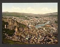Town and fortress, Tiflis, Russia, (Tbilisi, Georgia). 19th-century vintage postcard of Tbilisi. 1870s