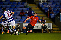 15th September 2020; Madejski Stadium, Reading, Berkshire, England; English Football League Cup, Carabao Cup Football, Reading versus Luton Town; Ryan Tunnicliffe of Luton dives into the tackle on Holmes of Reading