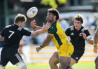 Australia's Zane Nonggorr gets his pass away during the rugby union match between New Zealand Schools and Australia Under-18s at St Paul's Collegiate in Hamilton, New Zealand on Friday, 4 October 2019. Photo: Dave Lintott / lintottphoto.co.nz