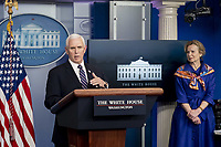 Vice President Mike Pence, joined by White House Coronavirus Response Coordinator Dr. Deborah Birx, delivers remarks during a coronavirus update briefing Wednesday, April 8, 2020, in the James S. Brady Press Briefing Room of the White House.<br /> <br /> People: Vice President Mike Pence, Dr. Deborah Birx