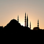 Suleymaniye Sunset Silhouette - Sulimaniye Mosque and Rustem Pasa Mosque silhouetted at sunset, Istanbul, Turkey