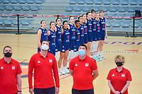 team Serbia ( Sonja Vasic (5) , Nevena Jovanovic (8) , Jelena Brooks (9) , Dajana Butulija (10) , Aleksandra Crvendakic (11) , Yvonne Anderson (12) , Ana Dabovic (23) , xxx, Angela Dugalic (32) , Tina Krajisnik (33) , xxx, xxx ) pictured during a basketball game between the national teams of Puerto Rico and Serbia on Sunday 30 th of May 2021 in Kortrijk , Belgium . PHOTO SPORTPIX.BE | SPP | STIJN AUDOOREN
