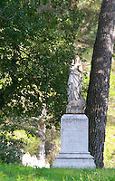 Statue of Our Lady Virgin Mary. Chateau St Jean d'Aumieres, Gignac village. Terrasses de Larzac. Languedoc. France. Europe.