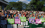 June 7, 2014: Fans wait to see Belmont contenders enter the paddock before the big race. Scene on Belmont Stakes Day at Belmont Park , Elmont, NY.   ©Joan Fairman Kanes/ESW/CSM
