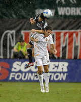 DC United defender Devon Mctavish (18) and Los Angeles Galaxy midfielder Kevin Harmse (6) go up for a header. DC United defeated the Los Angeles Galaxy 1-0, at RFK Stadium Washington DC, Thursday August 9, 2007.