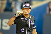 University of Washington Huskies Nick Roberts (2) celebrates the Huskies tenth inning win at Goodwin Field on June 10, 2018 in Fullerton, California. The Huskies defeated the Titans 6-5. (Donn Parris/Four Seam Images via AP Images)