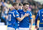 St Johnstone v Hamilton Accies…26.10.19   McDiarmid Park   SPFL<br />David Wotherspoon celebrates his second goal with Matty Kennedy<br />Picture by Graeme Hart.<br />Copyright Perthshire Picture Agency<br />Tel: 01738 623350  Mobile: 07990 594431