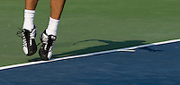 Marcos Baghdatis hits  a serve during the Legg Mason Tennis Classic at the William H.G. FitzGerald Tennis Center in Washington, DC.  David Nalbandian defeated Marcos Baghdatis in straight sets in the finals Sunday afternoon.