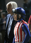 April 26, 2014 Rosie Napravnik and Bob Baffert wait for the results of the Derby Trial after an objection lodged against their horse Bayern.